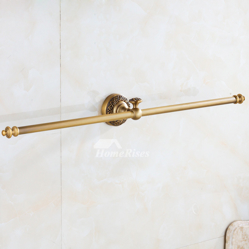 Double Towel Bar Antique Brass Wall Mount Vintage
