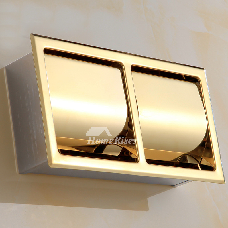 Double Toilet Paper Holder Recessed Stainless Steel Polished