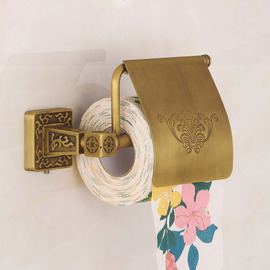 Antique Brass Toilet Paper Holder Wall Mount Carved