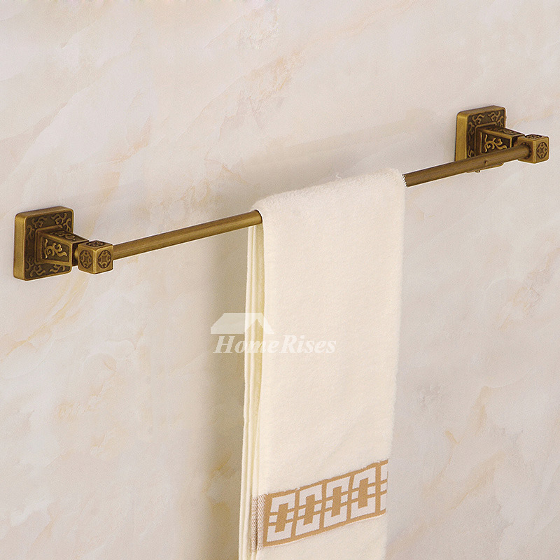 Antique Towel Bars Wall Mount Carved Brass