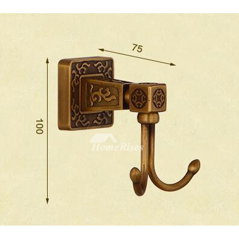 Double Robe Hook Carved Antique Brass Wall Mount