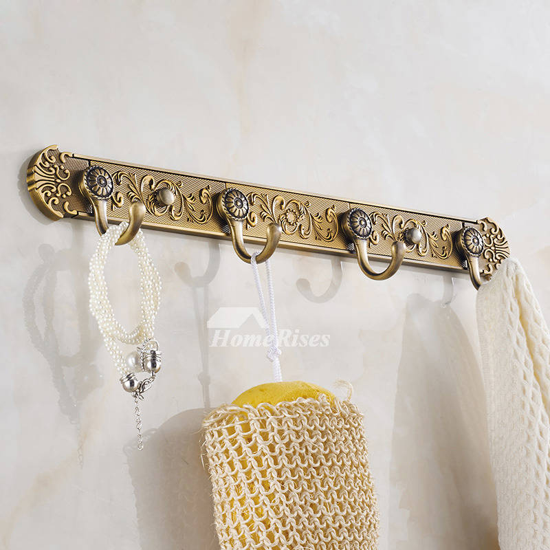Wall Mount Carved Antique Brass Towel Hooks Bathroom Zinc
