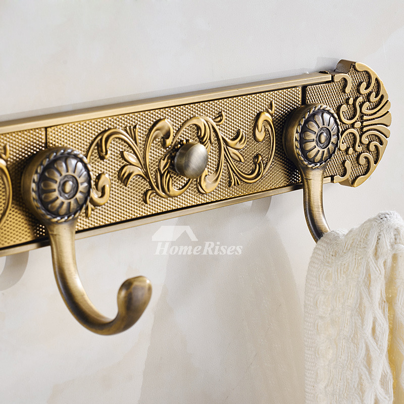 Wall Mount Carved Antique Brass Towel Hooks Bathroom Zinc Alloy