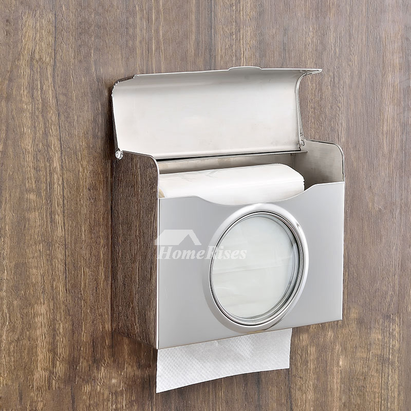Commercial Toilet Paper Holders Wall Mount Square Shaped Stainless Steel