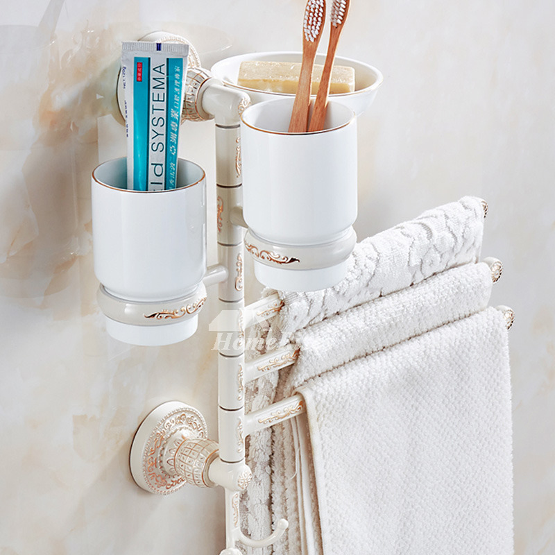 Swing Arm Wall Mount Modern Towel Rack Carved With Toothbrush Holder