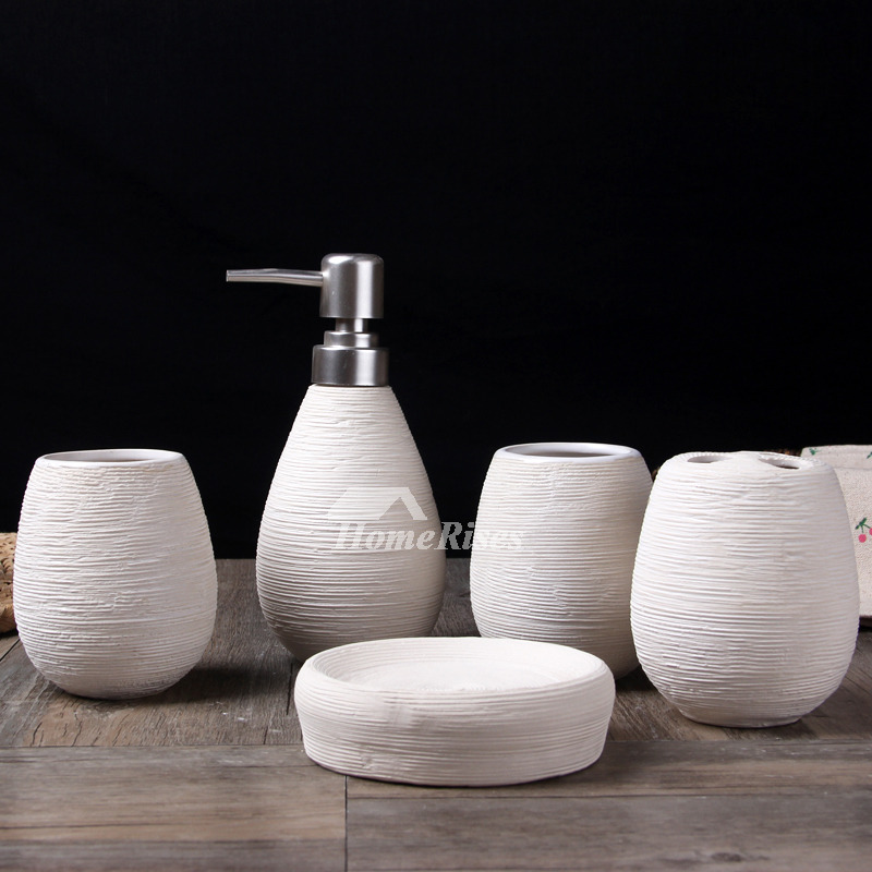 5 piece brushed ceramic bathroom accessories set for Ceramic bath accessories
