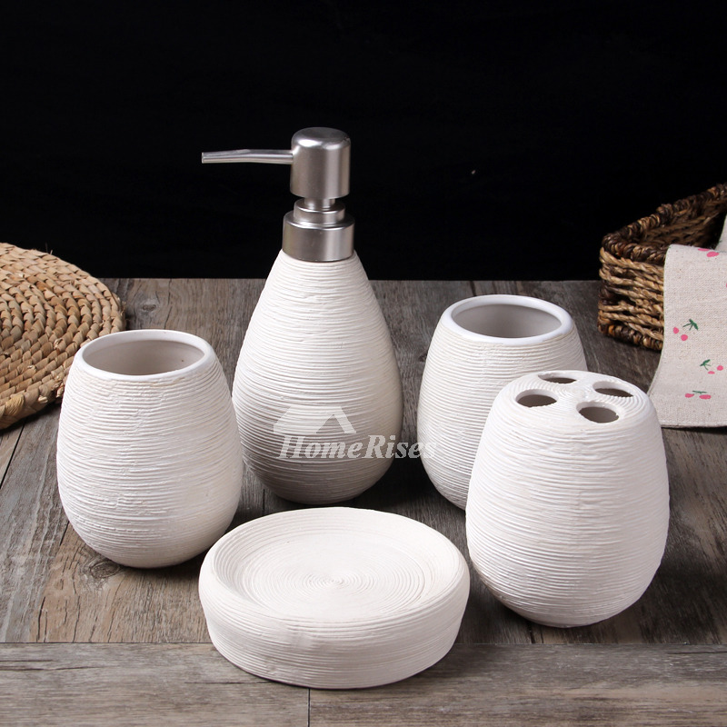 5 piece brushed ceramic bathroom accessories set for Ceramic bathroom accessories sets