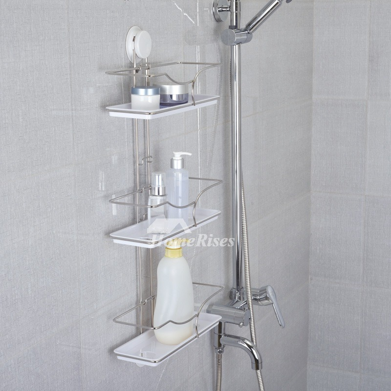 Suction cup three layer type white bathroom shelves - Bathroom shelves stainless steel ...