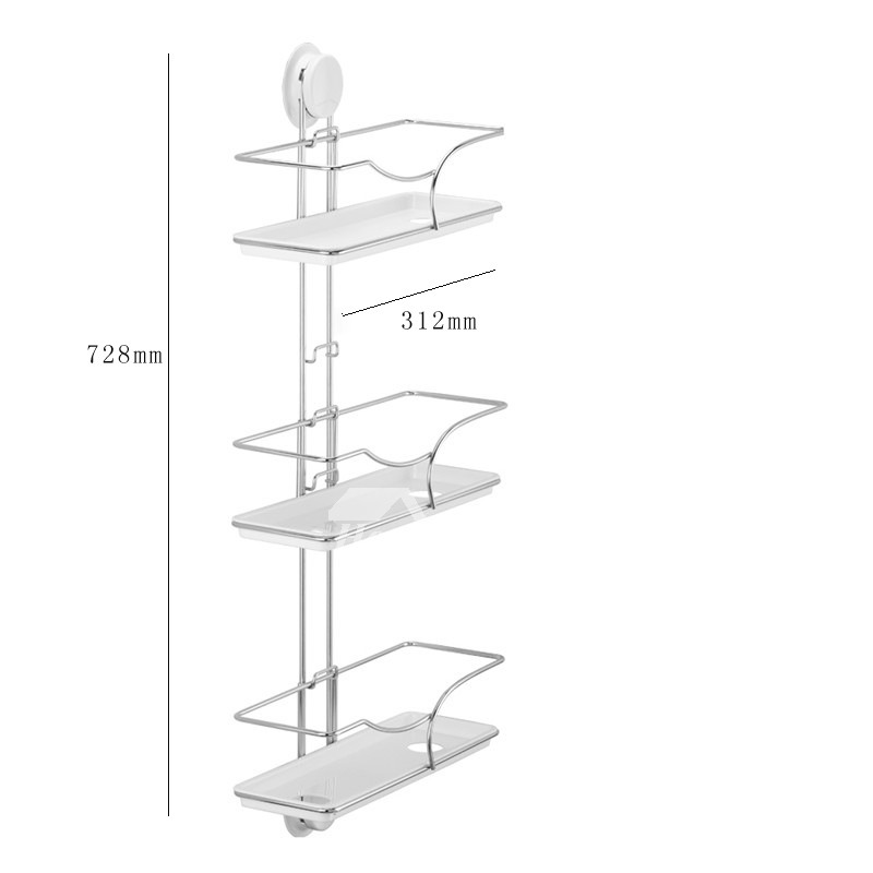 Suction Cup Three Layer Type White Bathroom Shelves Stainless Steel