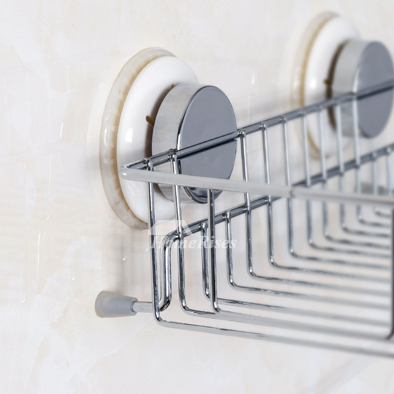Suction Cup Wall Mount Rectangular Shaped Silver Bathroom Shelf