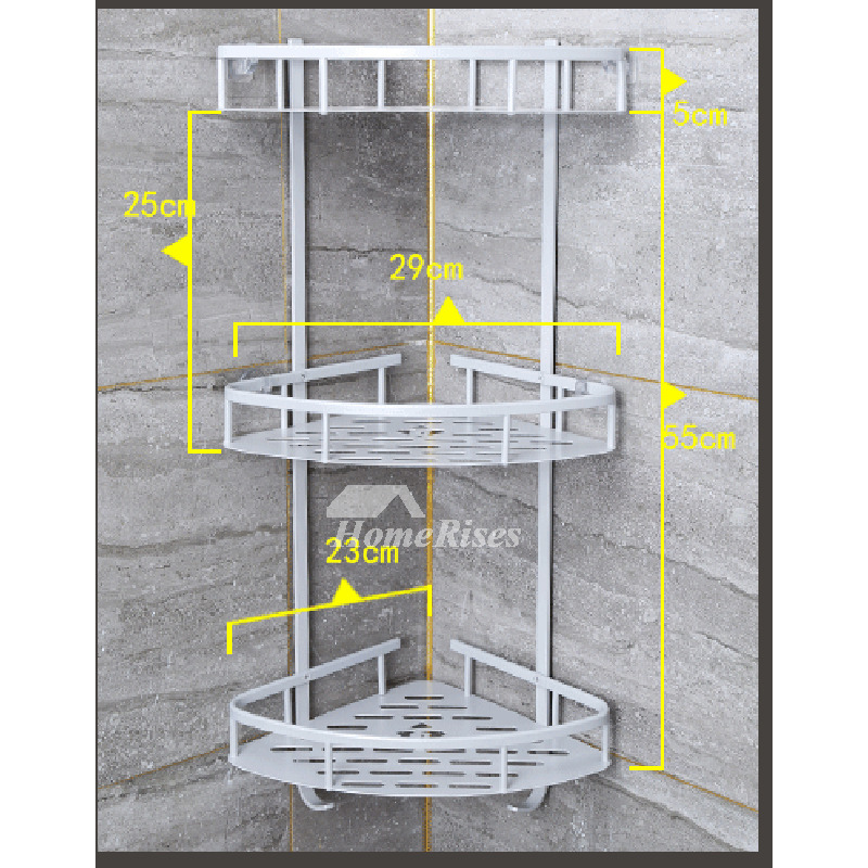 Corner Shelf For Bathroom Two Layer Wall Mount Aluminum