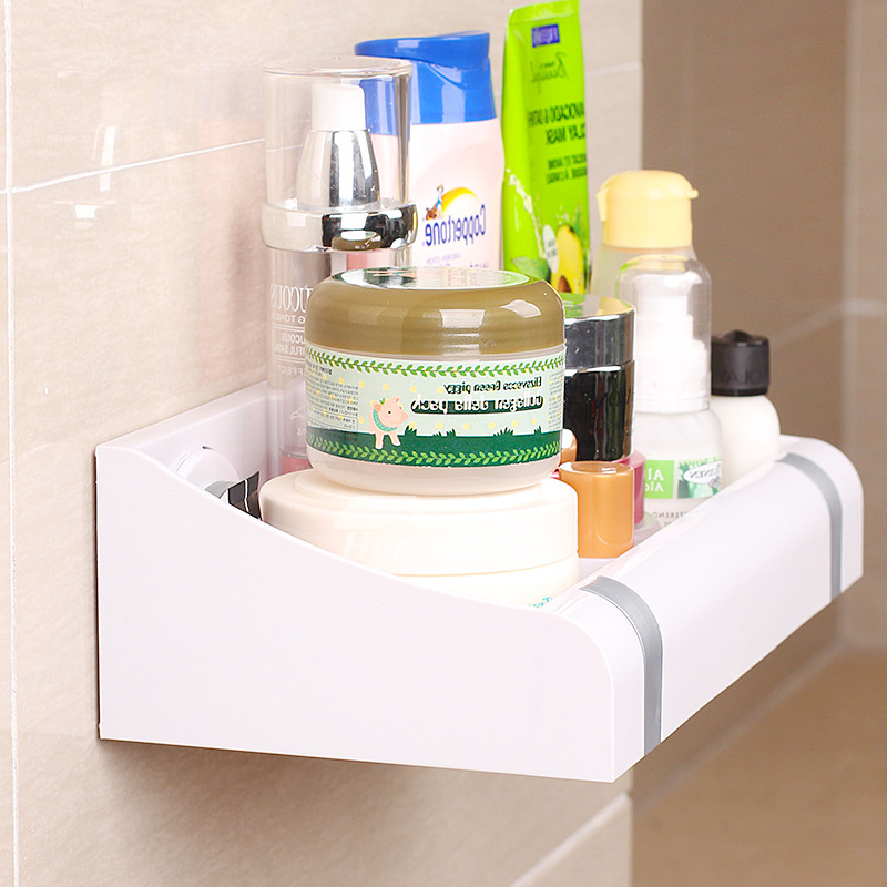 Simple Suction Cup White Bathroom Wall Shelf Plastic