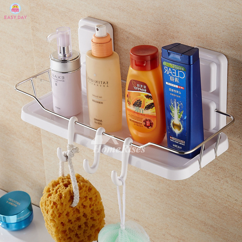 Modern Suction Cup White Shelves For Bathroom
