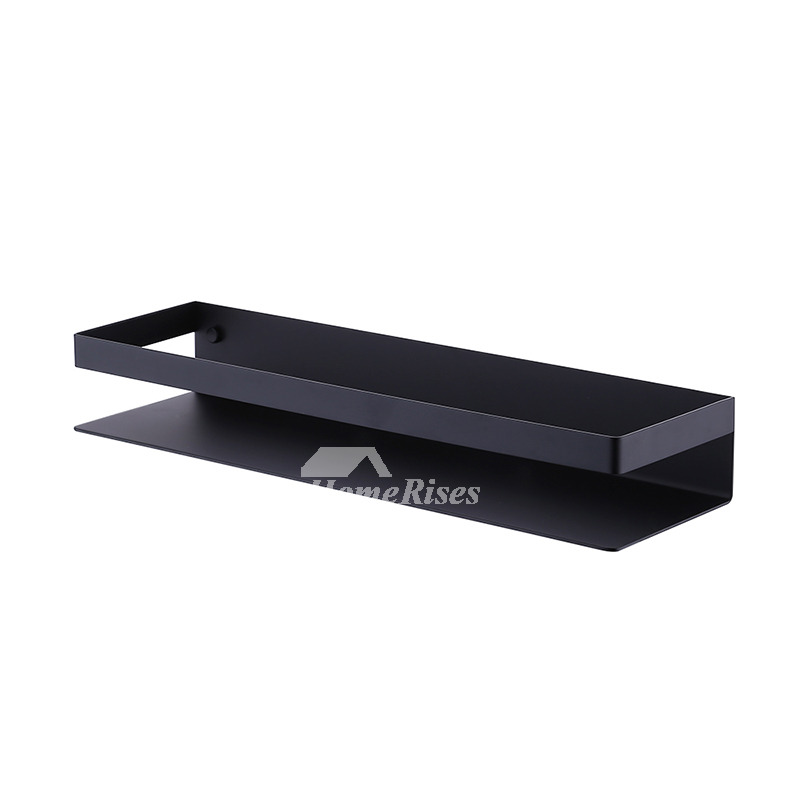 Black Bathroom Shelves Wall Mount Stainless Steel