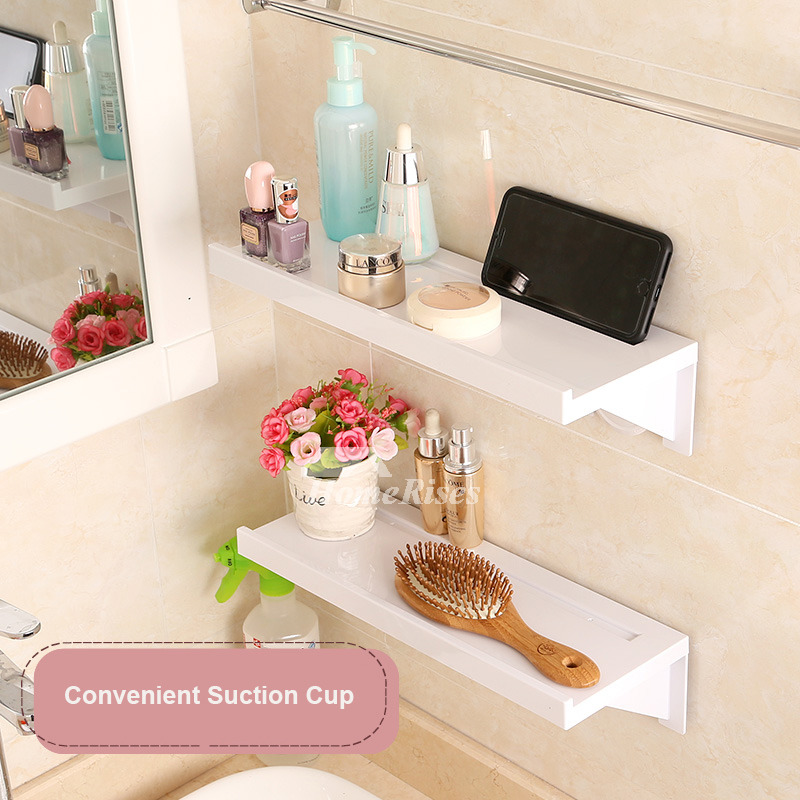 Abs Plastic White Bathroom Wall Shelf