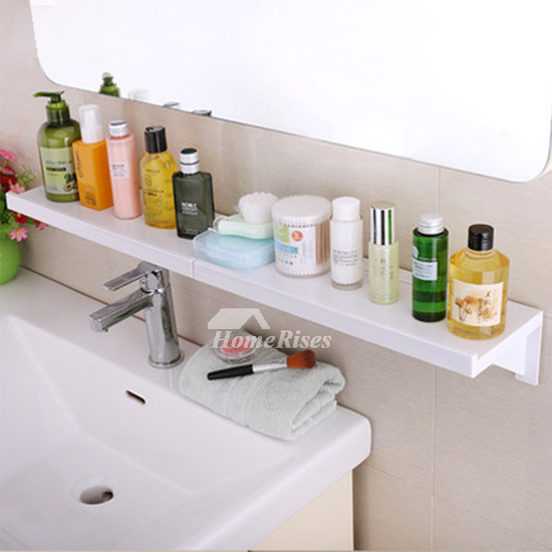 Quality Suction Cup ABS Plastic White Bathroom Wall Shelf