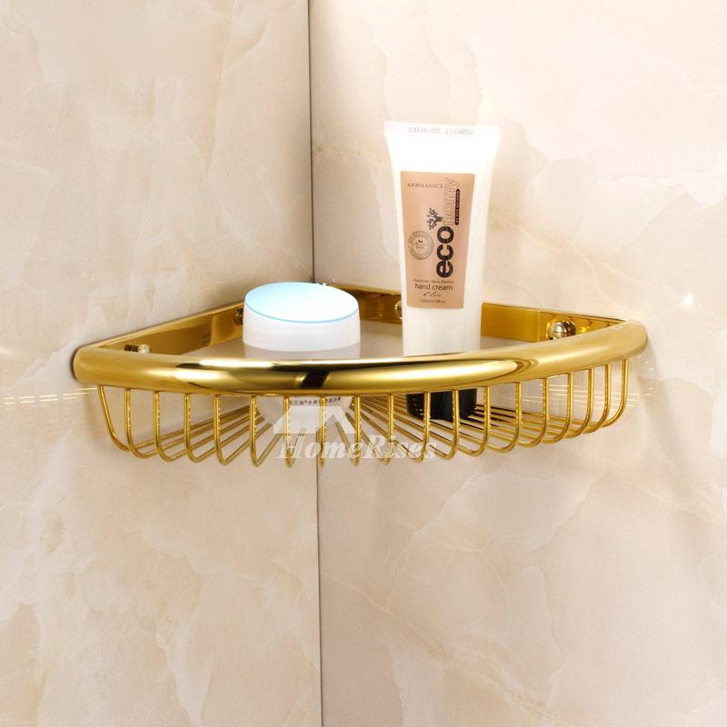 Small Corner Shelf For Bathroom Brass Chrome Wall Mount