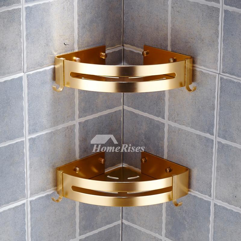 Luxury Polished Bathroom Corner Shelf No Drill Aluminum