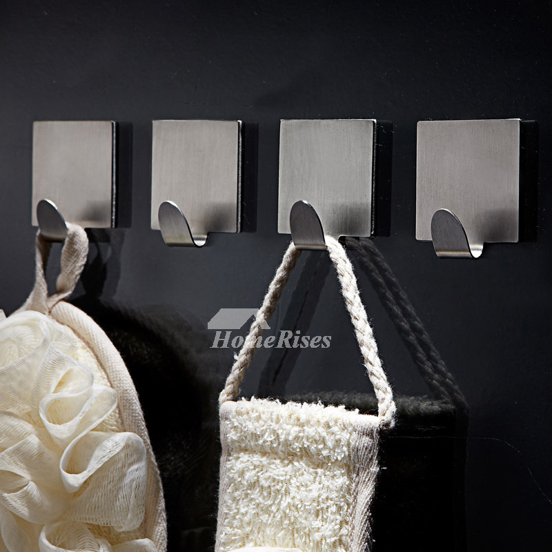 Stainless Steel Robe Hooks No Drill Silver Square Shaped