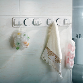 Designer Suction Cup Bathroom Towel Hook White ABS Plastic