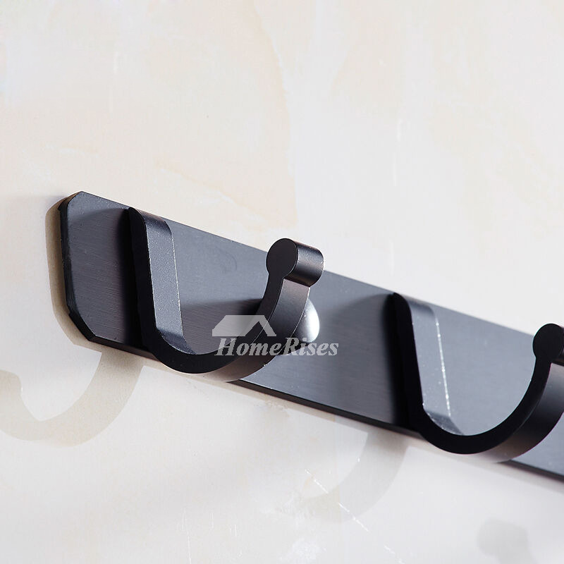 Solid Wall Mount Aluminum Painting Black Bathroom Hooks