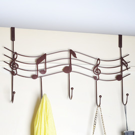 Bathroom Door Hooks Music Shaped Metal No Drill