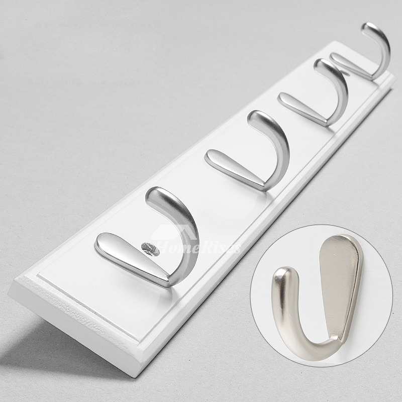 Bathroom Wall Hooks Towels: Bamboo White Painting Modern Bathroom Towel Hooks Wall Mount