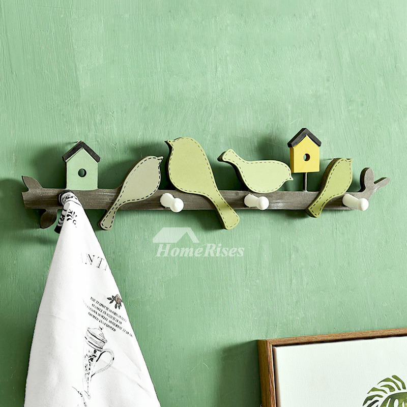 Decorative Bathroom Towel Hooks Wood Metal Wall Mount
