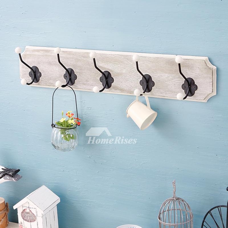 Decorative Bathroom Towel Hooks Wood Metal Wall Mount