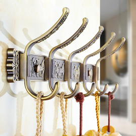 Antique Brass Carved Bathroom Wall Hooks Towels Zinc Alloy