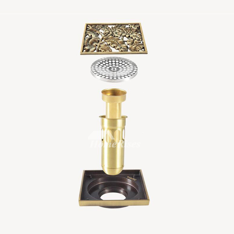 Vintage Square Shaped Brass Shower Drain Floral Shaped