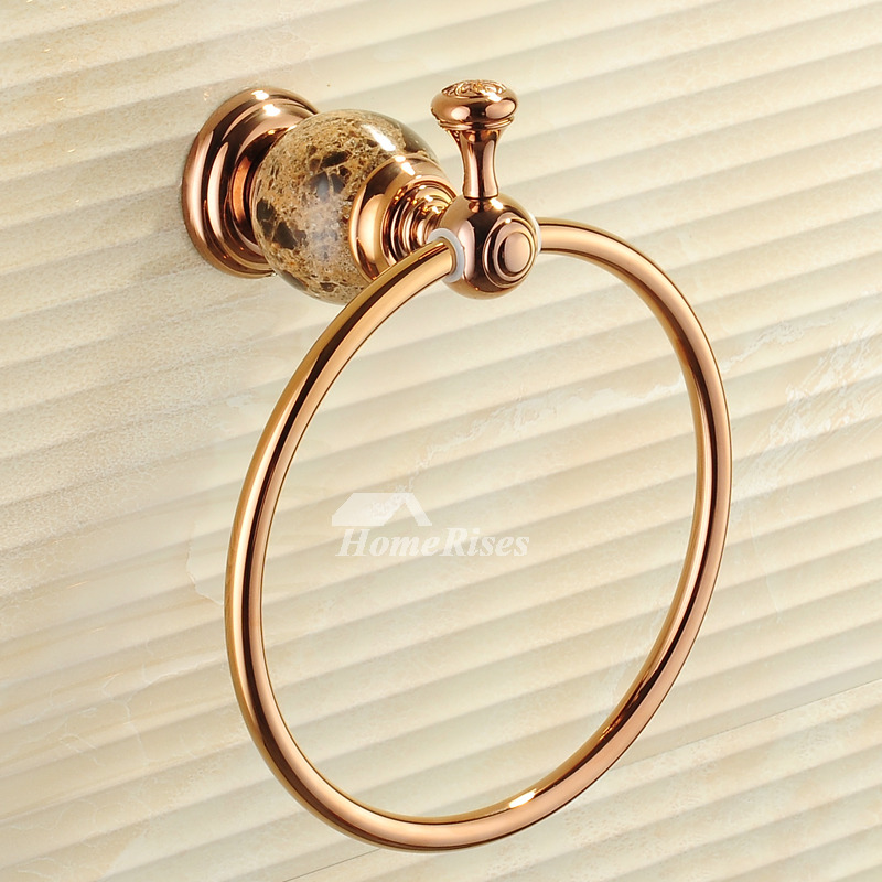 Towel Holder Ring Marble Pattern Wall Mount Gold Rose Gold