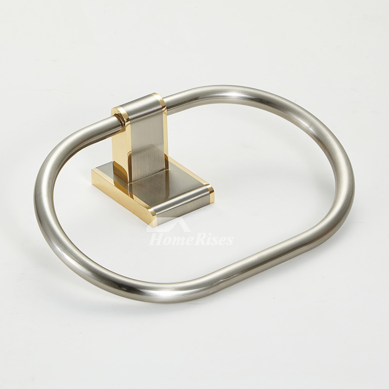 Brushed Nickel Towel Ring Designer Oval Shaped Wall Mount Brass