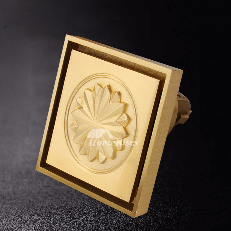 Square Shower Drain Cover Gold Brushed Brass Bathroom Carved