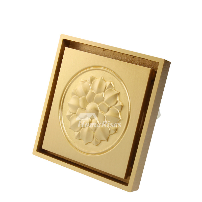 Square Shower Drain Cover Gold Polished Brass Bathroom Carved