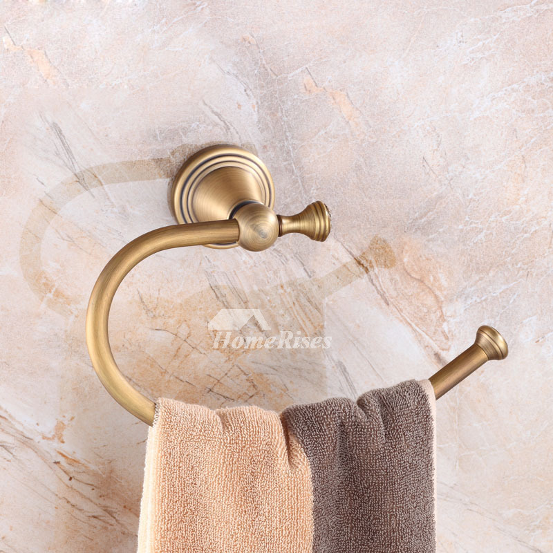 Solid Wall Mount Antique Brass Rustic Towel Ring For Bathroom