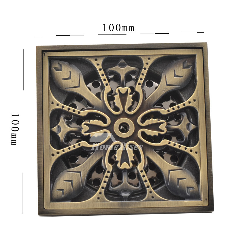 Solid Carved Antique Brass Bathroom Square Floor Drain