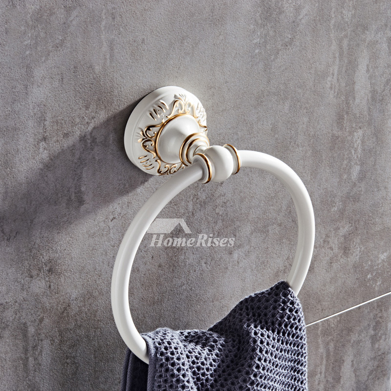Modern Circle Shaped Carved Towel Rings For Bathrooms
