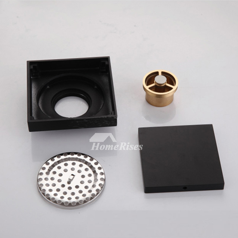 Brass Shower Drain Square Shaped Chrome Polished Painting