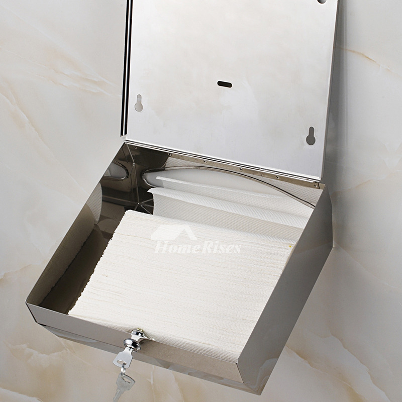 Stainless Steel Toilet Paper Holder Square Shaped Wall Mount