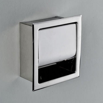 designer recessed toilet paper holder square shaped stainless steel