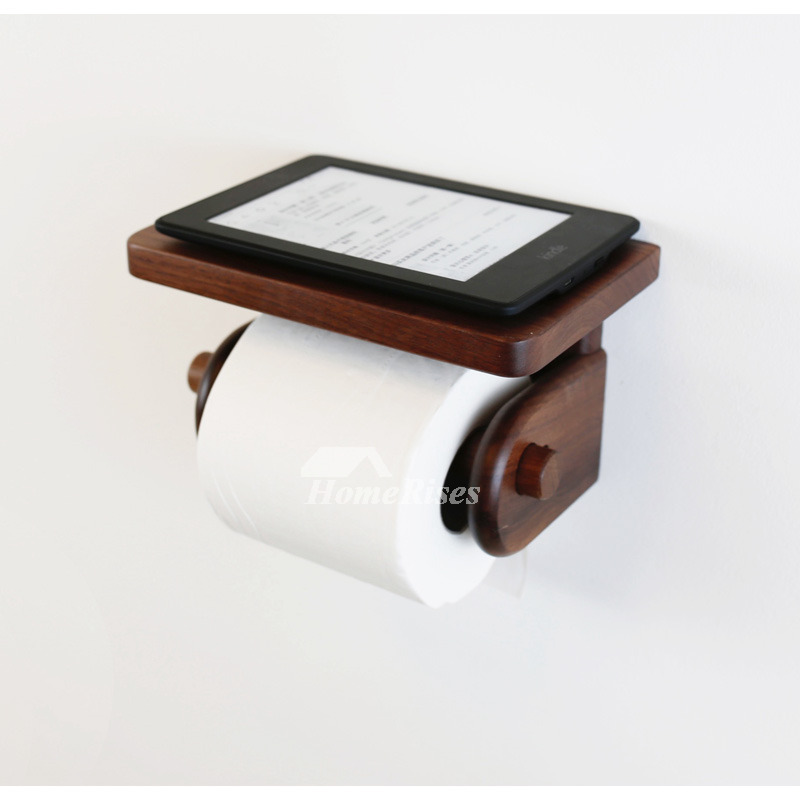 wooden toilet paper holder wall mount with shelf. Black Bedroom Furniture Sets. Home Design Ideas