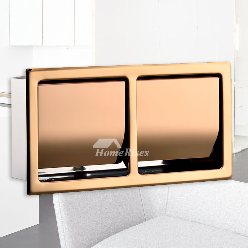 Double Roll Toilet Paper Holder Recessed Rose Gold 304 Stainless Steel