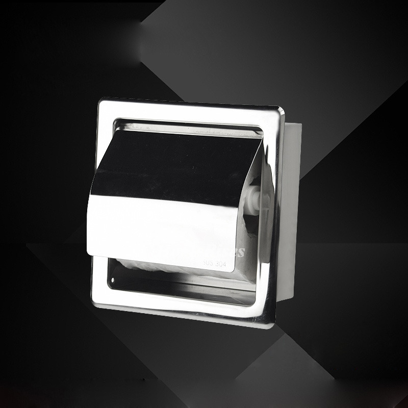 Modern Toilet Paper Holder Recessed Chrome Brushed