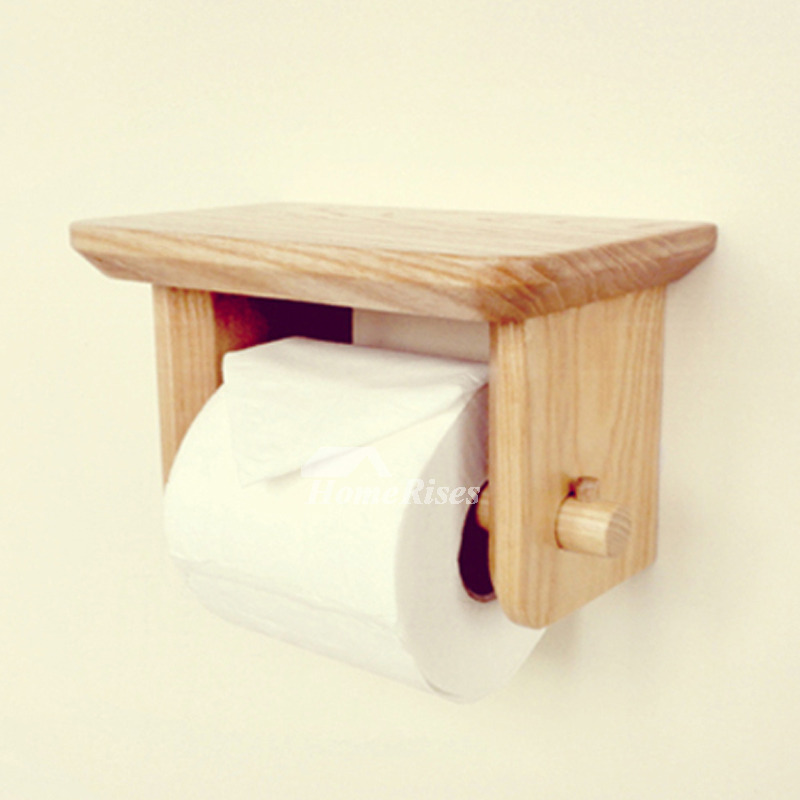 Wood toilet paper holder wall mount with shelf natural Wood toilet paper holders