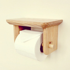 Wood Toilet Paper Holder Wall Mount With Shelf Natural