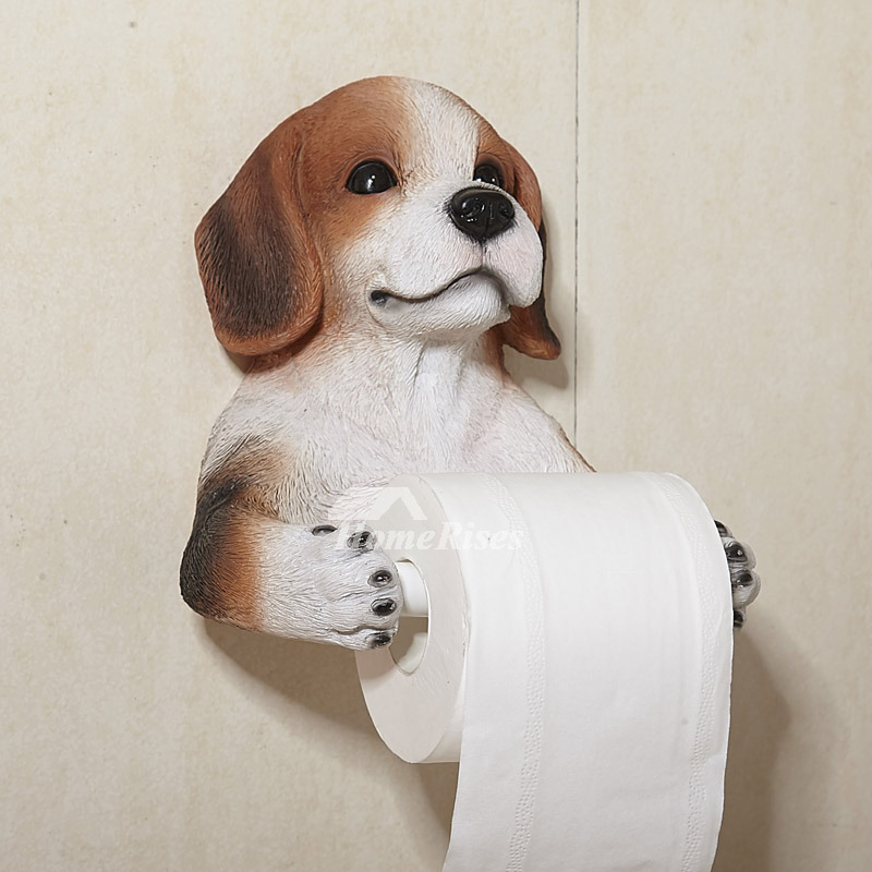 Dog toilet paper holder wall mount carved resin Animal toilet paper holder
