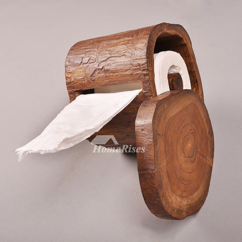 Natural Wall Mount Toilet Paper Holder Wood Rustic