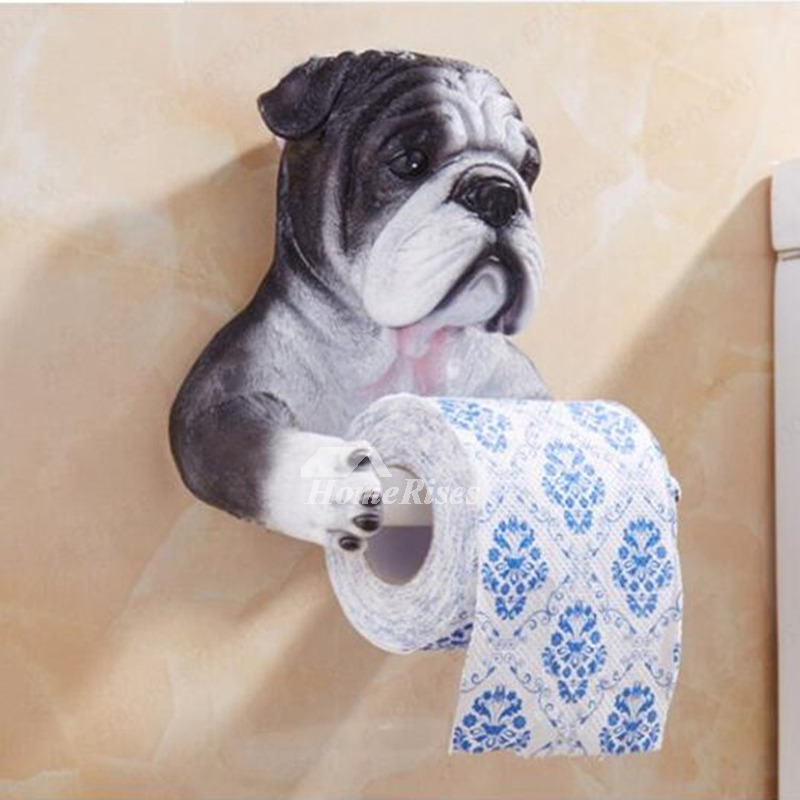 Cute Dog Toilet Paper Holder Wall Mount No Drill Resin