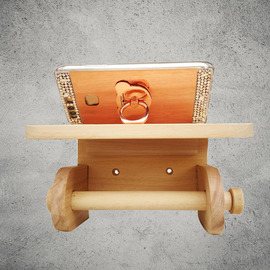 Natural Wall Mount/No Drill Wooden Toilet Paper Holders With Shelf